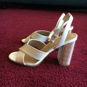 Aldo Shoes - White heels with a pop of shine on the heels